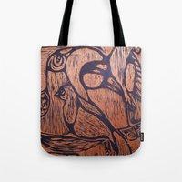 wesley bird Tote Bags featuring bird      by Amy Fan