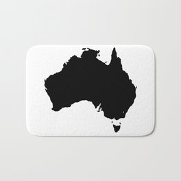 Australia Black Silhouette Map Bath Mat