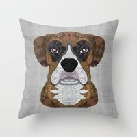 boxer Throw Pillows featuring Boxer by ArtLovePassion