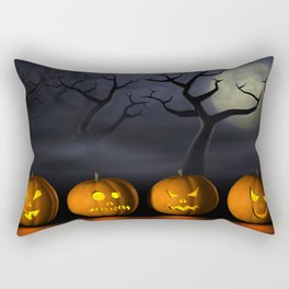 Row of Halloween pumpkins in a spooky forest at night Rectangular Pillow