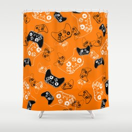 Video Game Orange Shower Curtain