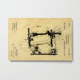 Sewing Machines Support Patent Drawing From 1885 Metal Print