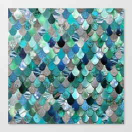 Mermaid Sea, Teal, Aqua, Silver, Grey Canvas Print