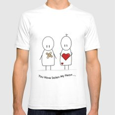You Have Stolen My Heart White Mens Fitted Tee SMALL