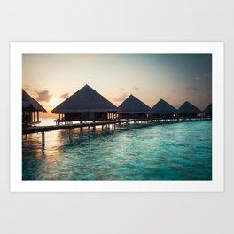 waterbungalows at sunset Art Print
