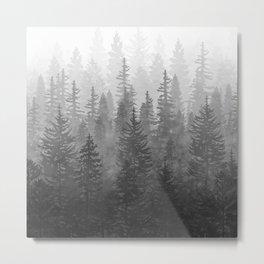 My Misty Secret Forest - black & white Metal Print