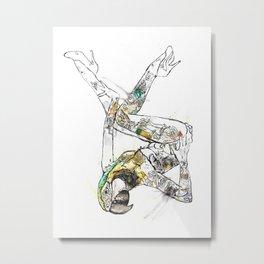 Watercolour Art: 'Hot Bird', Pin-up Girl Unique Art. Metal Print