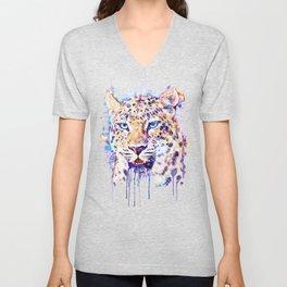 Watercolor Leopard Head Unisex V-Neck