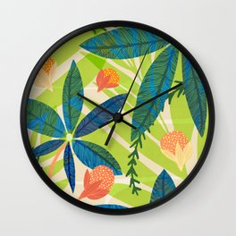 Tropical Star Flowers With Berries Wall Clock