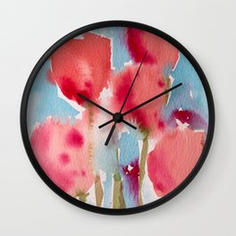 Tulips in watercolor Wall Clock