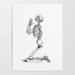 Vintage Praying Skeleton Graphite Anatomical Drawing Poster