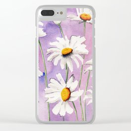 White Daisies Bloom Clear iPhone Case