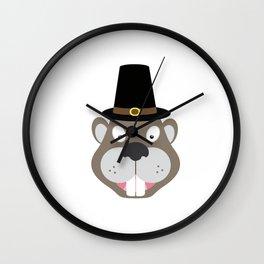 Thanksgiving Beaver Wall Clock