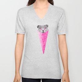 Cat Graphic Pink Cat Ice Cream Cone Cat Clipart Unisex V-Neck