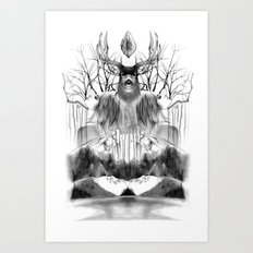 DEER KALEIDOSCOPE Art Print