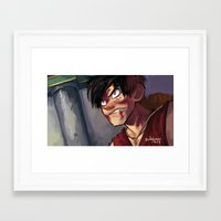 luffy Framed Art Prints featuring Luffy  by DustyLeaves
