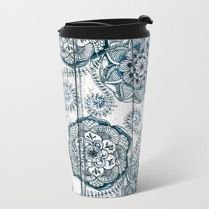 Navy Blue Floral Doodles on Wood Metal Travel Mug