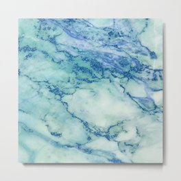 Blue-green faux marble Metal Print