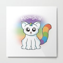 Meowgical Unicorn Cat Metal Print