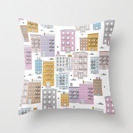 Manhattan brownstones New York travel pattern Throw Pillow