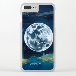 Full Moon Mixed Media Painting Clear iPhone Case