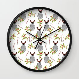 Christmas Penguin Pattern White Wall Clock