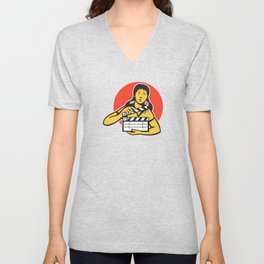asiian woman girl with movie clapboard Unisex V-Neck