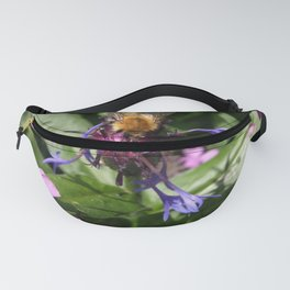 BEE ON BLUE & PINK FLOWERS Fanny Pack