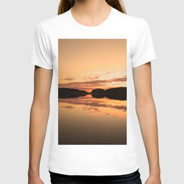 Beautiful sunset - glowing orange - forest silhouette and reflection T-shirt