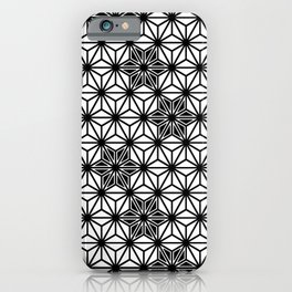 Japanese Asanoha or Star Pattern, Black and White iPhone Case