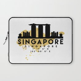 SINGAPORE SILHOUETTE SKYLINE MAP ART Laptop Sleeve