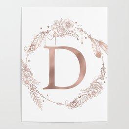 Letter D Rose Gold Pink Initial Monogram Poster