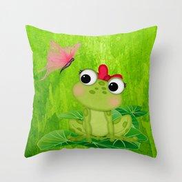 Cute Girl Frog  Throw Pillow