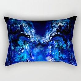 wolves hate monday splatter watercolor blue Rectangular Pillow