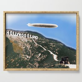 Hollywood Sign and Blimp Serving Tray