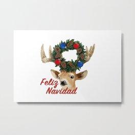 Feliz Navidad Spanish Merry Christmas Metal Print
