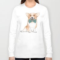 corgi Long Sleeve T-shirts featuring Corgi Dog by Barruf