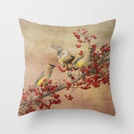 Cedar Waxwings Gathering Throw Pillow