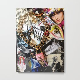Mixed Media Fashion Collage  Metal Print
