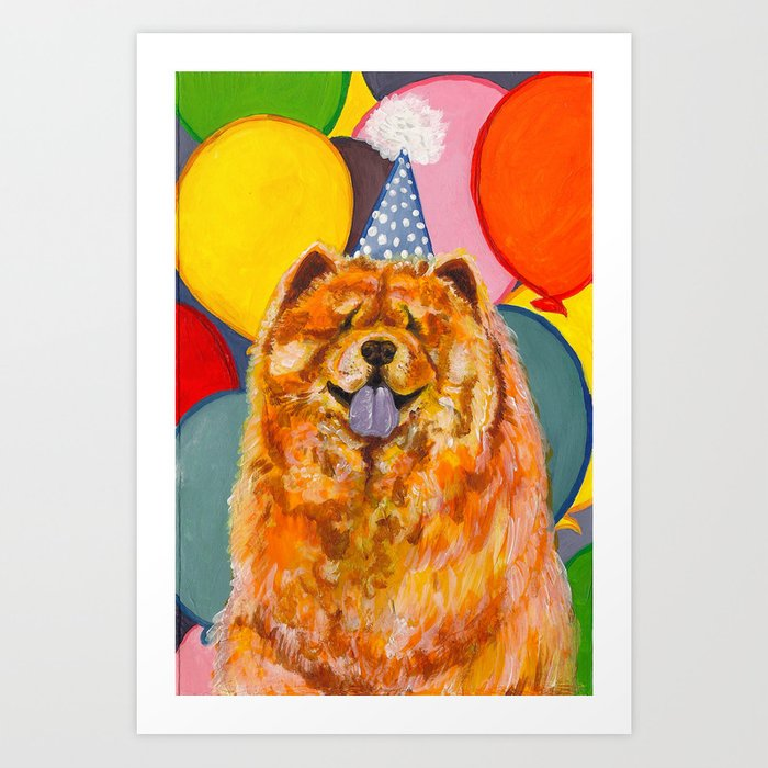 Chow Chow with Balloons Art Print