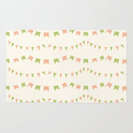 Summer Party Banner Flags Illustrated Print in Peach and Green Rug