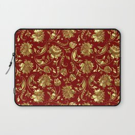 Dark Red & Gold Floral Damasks Pattern Laptop Sleeve