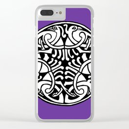 Celtic Art - Interlaced Birds - on Purple Clear iPhone Case