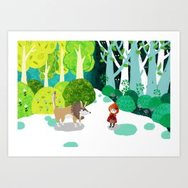 Red Riding Hood and The Wolf Art Print
