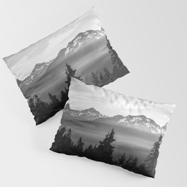 Morning in the Mountains Black and White Pillow Sham