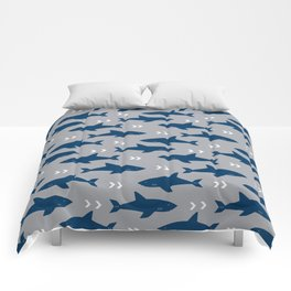 Sharks and chevrons minimal basic nursery baby home decor pattern nautical ocean Comforters