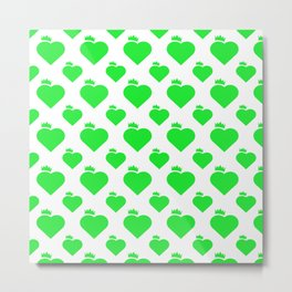 Crown Heart Pattern Green Metal Print