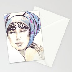 Woman portrait with blue turban Stationery Cards