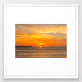 Sunset Coast with Orange Sun and Birds Framed Art Print