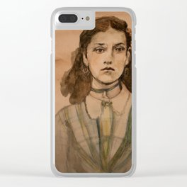 watercolor portrait of victorian girl Clear iPhone Case